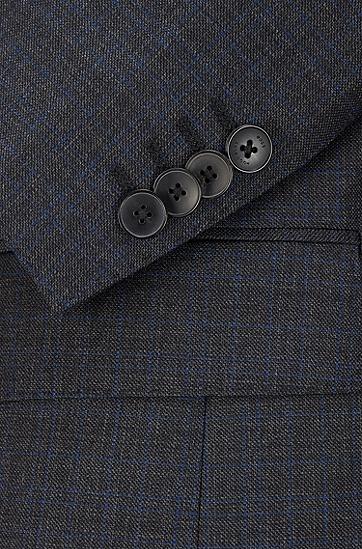 方格初剪羊毛修身西装,  061_淡灰色
