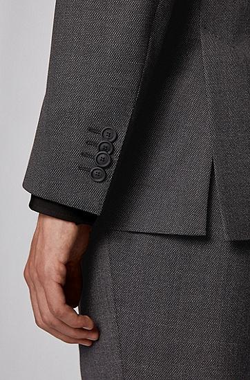图案式弹性面料修身版西装,  061_淡灰色