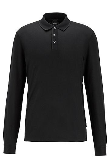 丝光棉长袖修身 Polo 衫,  001_黑色