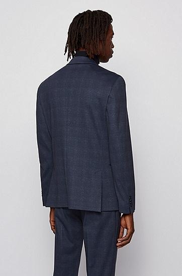 格纹弹力平针织面料修身西服夹克,  402_暗蓝色