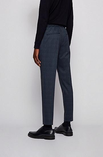 抽绳裤腰格纹修身长裤,  402_暗蓝色