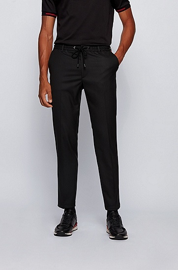 饰以抽绳腰带和特色饰边的修身版长裤,  001_黑色
