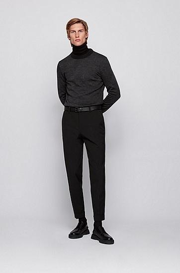 羊毛针织圆领毛衣,  001_黑色