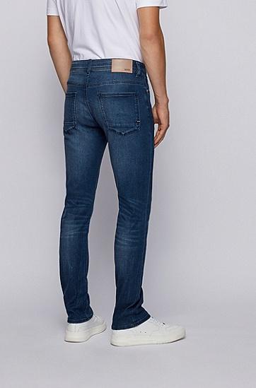 男士深蓝色修身版牛仔裤,  425_中蓝色