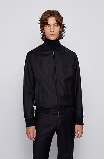 正面拉链设计弹力羊毛修身版夹克,  401_暗蓝色