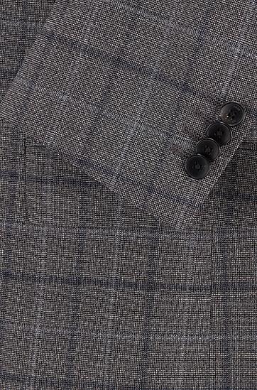 初剪羊毛哔叽面料格纹常规版型西装,  030_中灰色