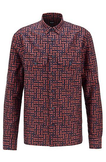 字母图案棉质提花面料宽松衬衫,  402_暗蓝色