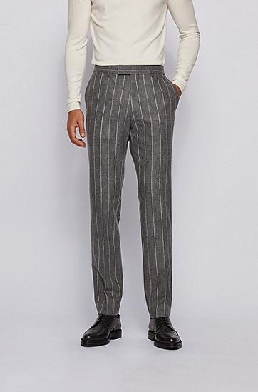 细条纹羊毛双排扣修身西装套装,  030_中灰色