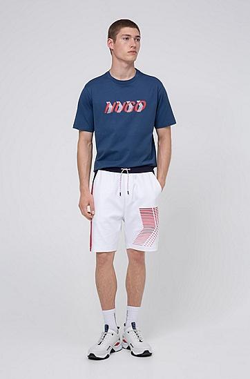 定位印花棉质平针织男女同款 T 恤,  404_暗蓝色