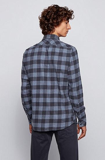 男士格子衬衫,  404_暗蓝色