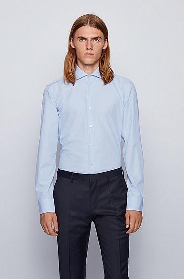 微格纹提花棉修身衬衫,  450_浅蓝色