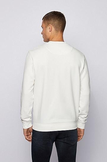 印花细节徽标法国毛圈布运动衫,  101_天然色