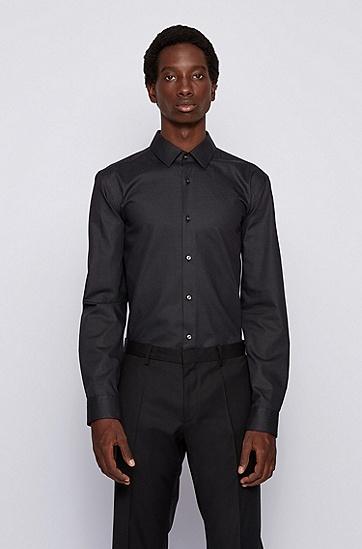 弹力棉斜纹布修身衬衫,  002_黑色
