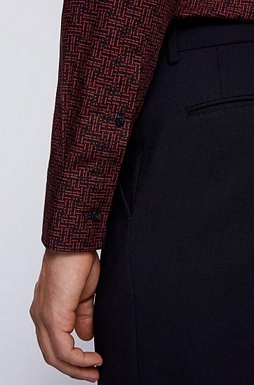 字母组合印花意大利棉质修身版衬衫,  844_淡橙色