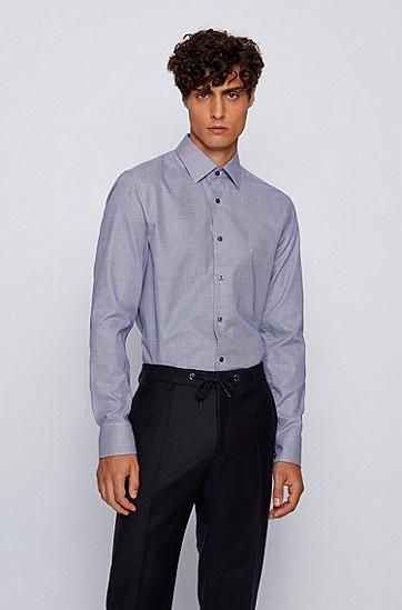 微纹理棉质修身衬衫,  411_海军蓝色