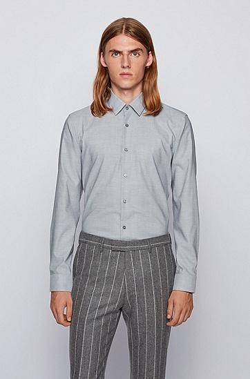 针点易烫棉修身衬衫,  002_黑色