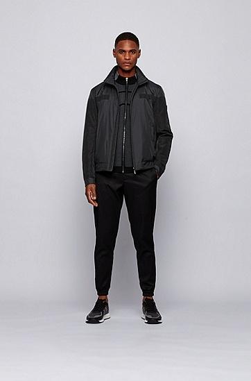 抽象徽标嵌片防水夹棉夹克,  001_黑色