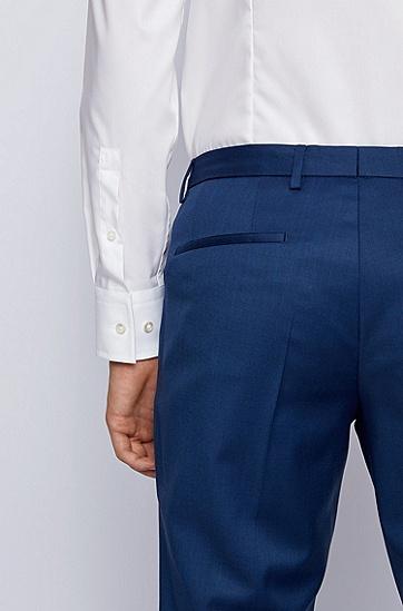 纯色商务修身长袖衬衫,  100_白色