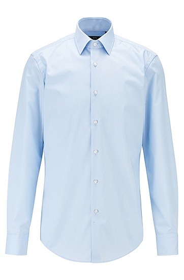 纯色商务修身长袖衬衫,  450_浅蓝色