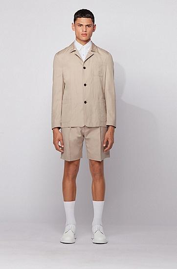 多彩提花棉质修身版衬衫,  275_浅米色