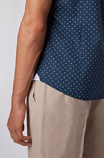 印花棉纱修身版衬衫,  735_亮黄色