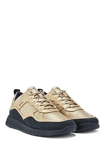 金属覆层混合皮革运动鞋,  710_金黄色