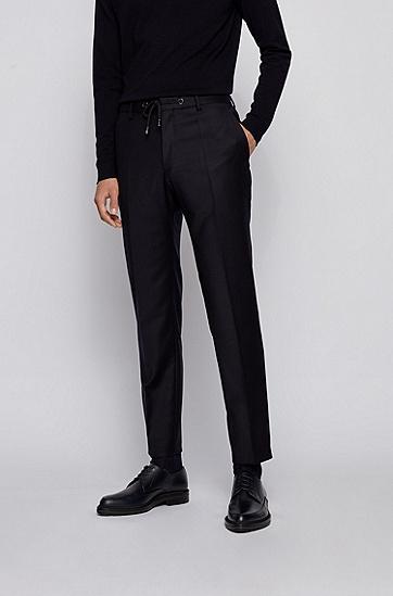 弹力羊毛抽绳裤腰修身长裤,  401_暗蓝色