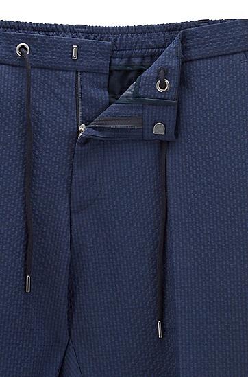 抽绳束腰修身长裤,  402_暗蓝色