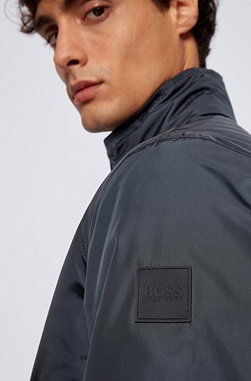 可收紧风帽常规版型束腰式夹克,  402_暗蓝色
