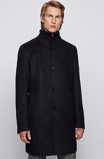 羊毛混纺双排扣外套,  001_黑色