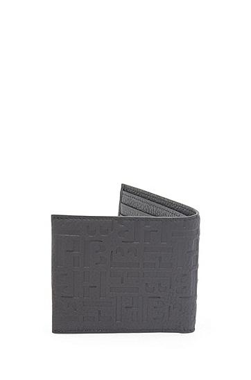 压花字母图案意大利粒面皮革钱包,  001_黑色