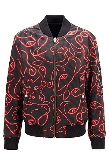 牛头印花与光泽饰面搭配的双面夹克,  001_黑色