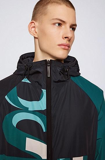 饰有星形图案和徽标的双面防水夹克,  355_淡绿色