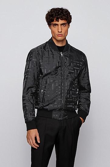 通体交织字母图案双面束腰式夹克,  001_黑色