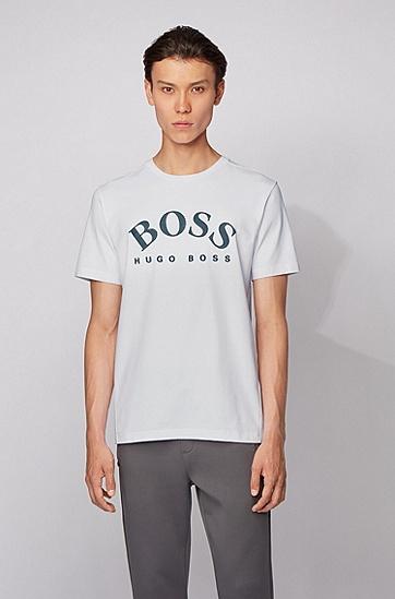 弧形徽标弹力棉圆领 T 恤,  100_白色