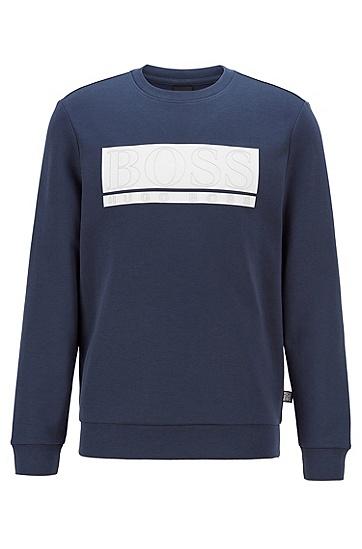 截块徽标棉毛面料修身运动衫,  410_海军蓝色