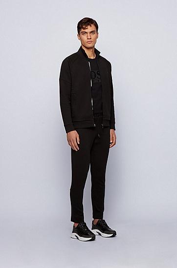 牛头艺术风图案珠地布拉链运动衫,  001_黑色