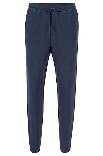 饰有弧形徽标的双面棉质混纺运动裤,  410_海军蓝色