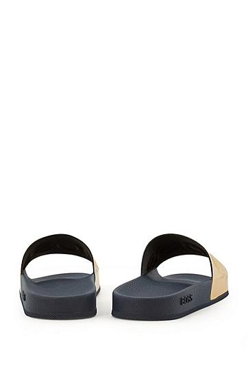 意大利制造金属徽标拖鞋,  710_金黄色