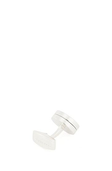 结节设计抛光金属袖扣,  100_白色