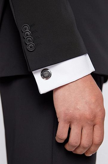 黑色嵌饰菱形刻印线条圆形袖扣,  001_黑色
