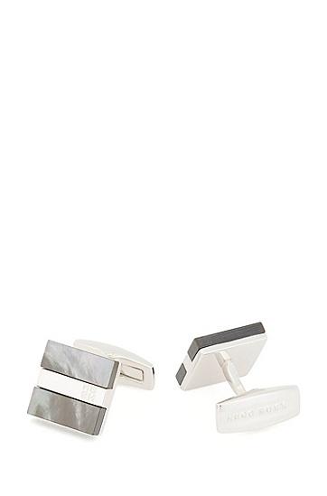 珍珠母贝嵌饰字母图案袖扣,  021_暗灰色