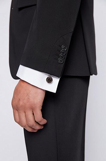 碳纤维内芯徽标刻印袖扣,  001_黑色