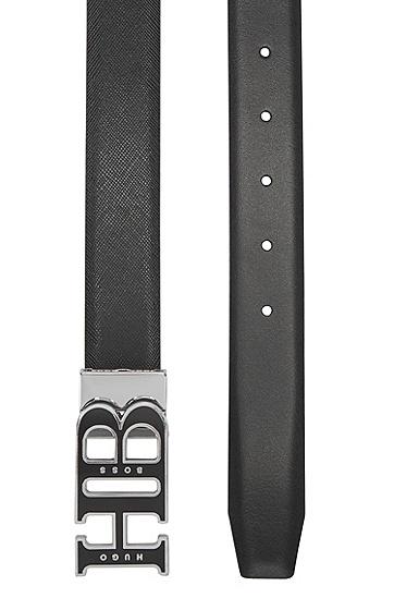 珐琅字母图案带扣双面皮带,  001_黑色