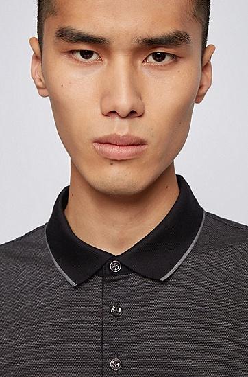 双面丝光棉棉质珠地布常规版型 Polo 衫,  001_黑色