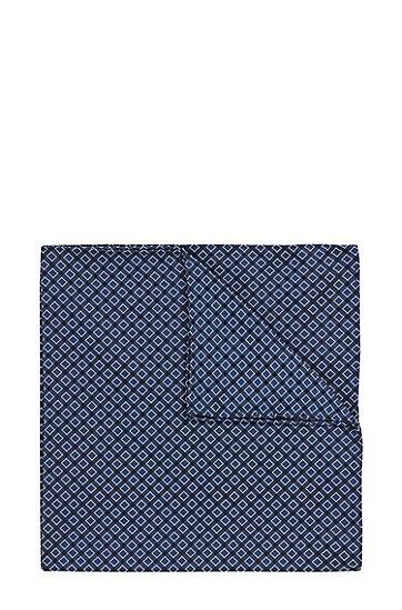 丝绸提花面料几何图案方巾,  402_暗蓝色