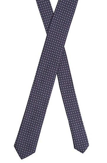 真丝提花混色图案领带,  402_暗蓝色