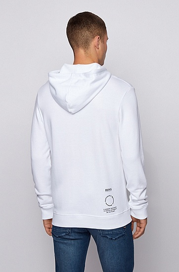 法国毛圈布徽标印花连帽运动衫,  100_白色