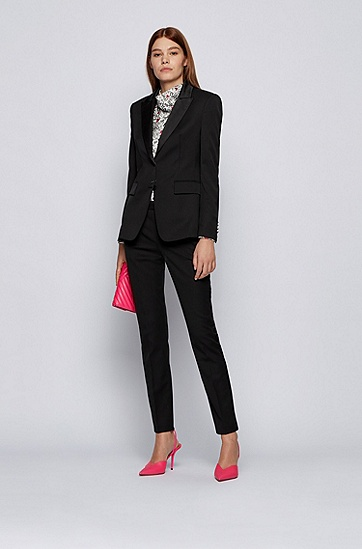 Justin Teodoro 联名胶囊系列真丝饰边常规版型礼服夹克,  001_黑色