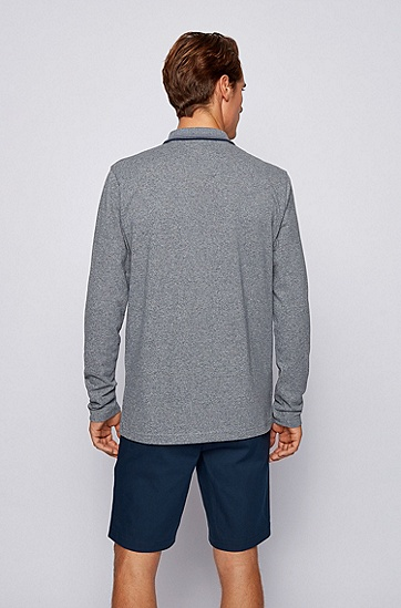 新季徽标装饰长袖 Polo 衫,  410_海军蓝色